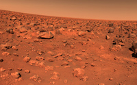 PIA 00568 Mars: First Color Image of the Viking Lander 2 Site
