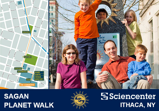 SAGAN Planet Walk Sidebar Image - Map with group of guests at Sun station on Itahca Commons