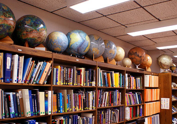 SPIF library of globes and books on location