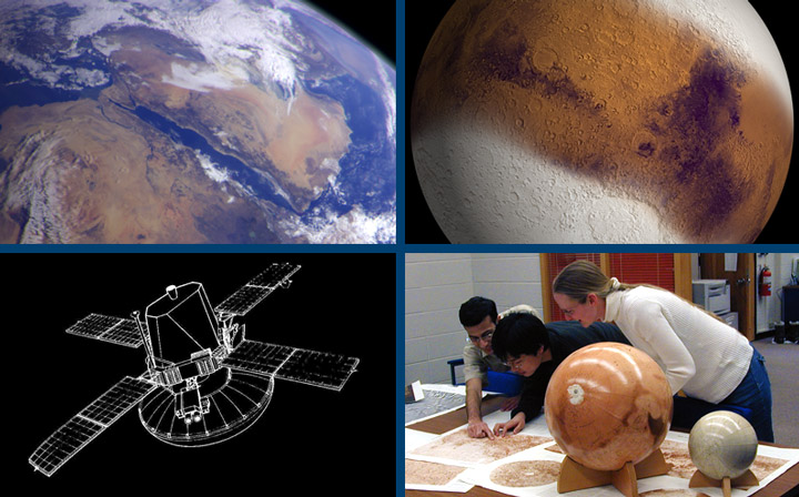 SPIF Banner: globes teacher with students Mars Earth Probe schematic